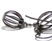 Vintage Bead Earrings - Black Cage Earrings
