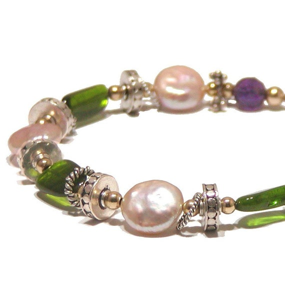 Coin Pearl Bracelet - Emerald Green Chrome Diopside, Amethyst and Silver