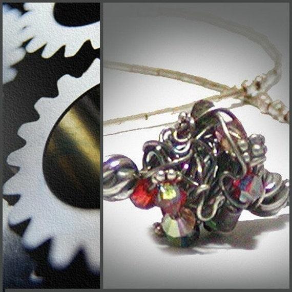 Wire Wrapped Necklace, Wire Wrapped Jewelry, Sterling Silver, Swarovski Crystsl