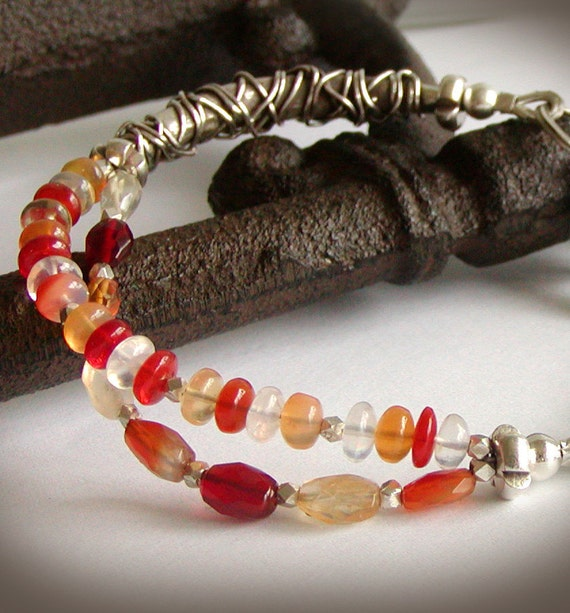 Opal Bracelet - Multi Strand Fire Opal with Wirework in Fine Silver