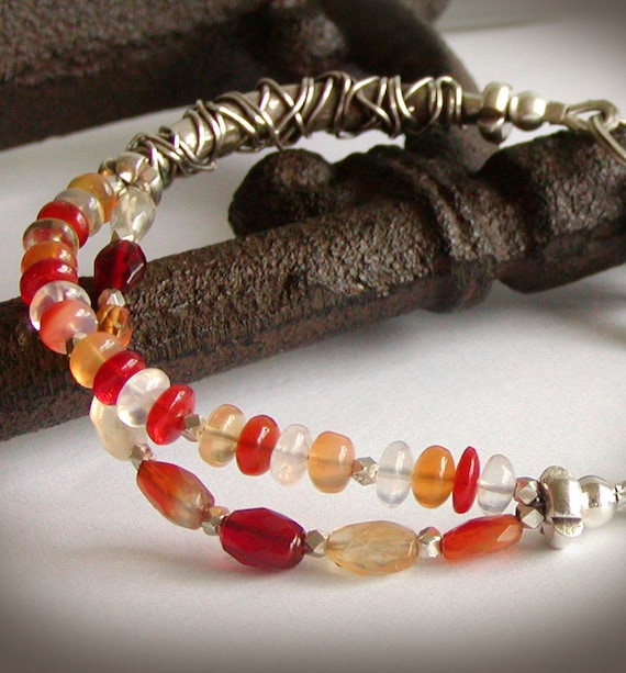 Opal Bracelet - Multi Strand Fire Opal with Wirework in Fine Silver