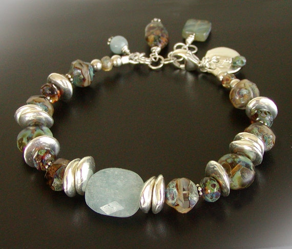 Rustic Aquamarine Bracelet - Czech Glass Jewelry, Sterling Silver