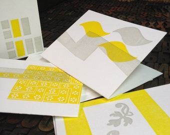 SALE - Letterpress Abstract Note Cards - Set of 4