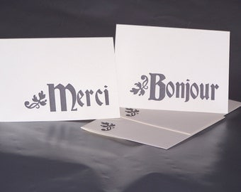 SALE - Letterpress French Note Cards - Set of 4