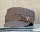 Womens Cotton Military Hat Taupe,brown,blue plaid : Claire