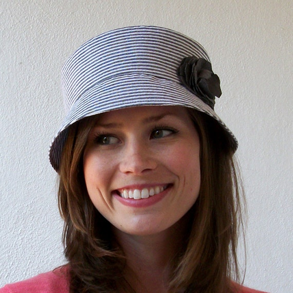 Pippa Cloche Hat, Womens Hat - Grey and White Cotton with Linen Flower