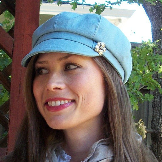 Womens Newsboy Cap Womens Hat Blue Cotton Canvas - MADE TO ORDER
