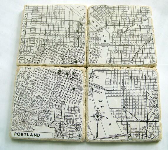 Portland Oregon Map Coasters