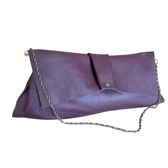 pleat leather purse - burgundy