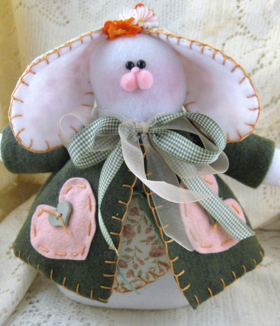 REDUCED Tillie Bunny in Green and Peach