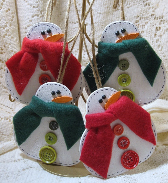 Christmas Holiday Wooden Snowman Ornaments Set of 4