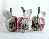 Scented Plush Red Apples, recycled autumn and holiday home decor