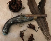 French antique wood theater pistol