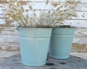 Shabby chic vintage enamel pail blue French country object (listing for one pail)