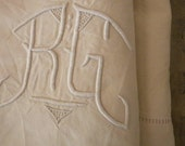RESERVED Vintage French  metis linen hand-embroidered  bedsheet