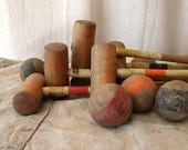 SALE Vintage French croquet set wooden game