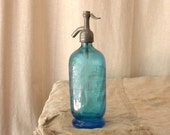 RESERVED Blue seltzer bottle vintage French country home decor