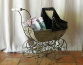 French  antique doll's carriage, pram, stroller, pushchair shabby chic decor