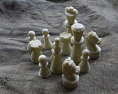 12 vintage marble chess pieces