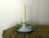 SALE Enamel candleholder, white and blue French country decor