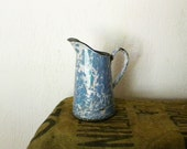 RESERVED Vintage blue speckled enamel pitcher, French country decor