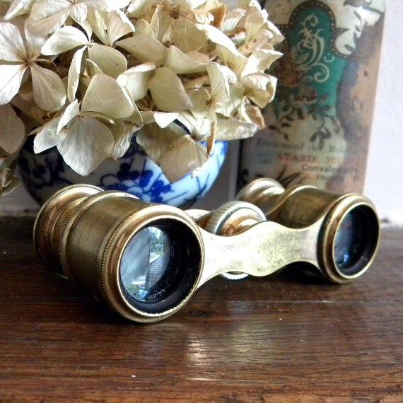Small vintage copper opera glasses