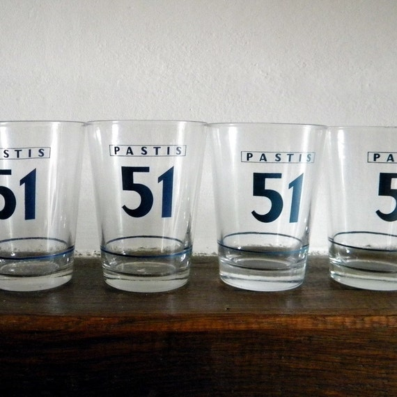 Six vintage 51 pastis glasses