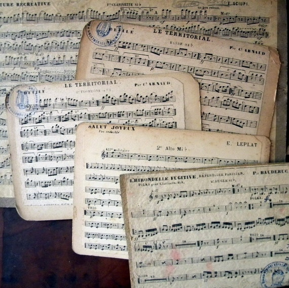 Vintage French music sheets, lot of 20