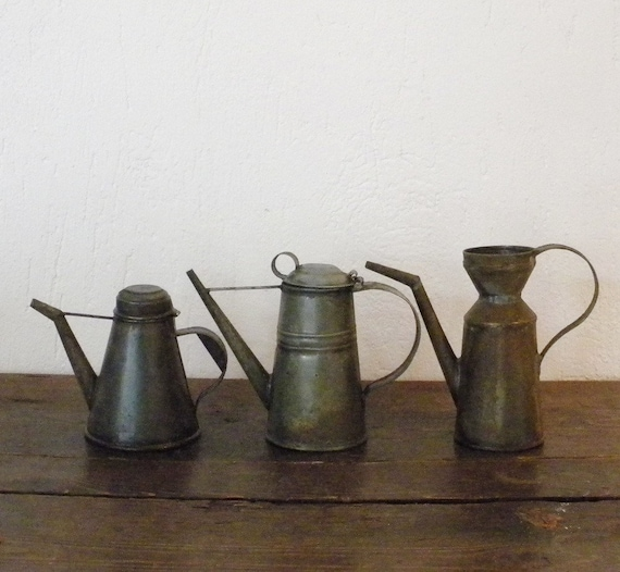 RESERVED Antique French country metal watering can