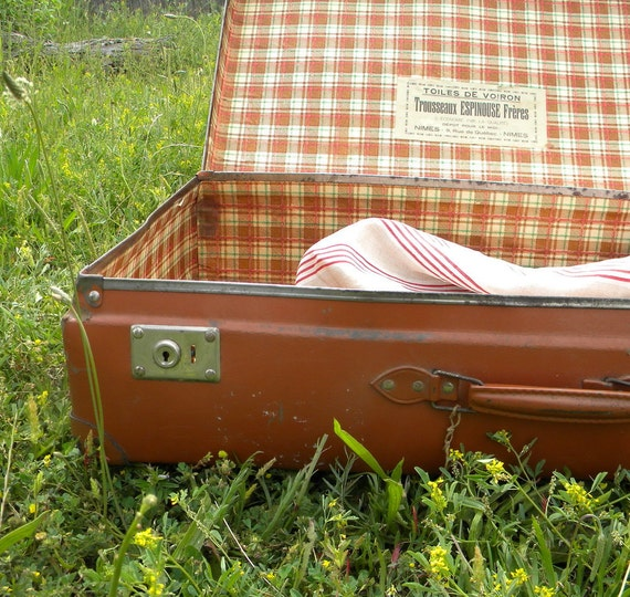SALE Vintage suitcase French country decor