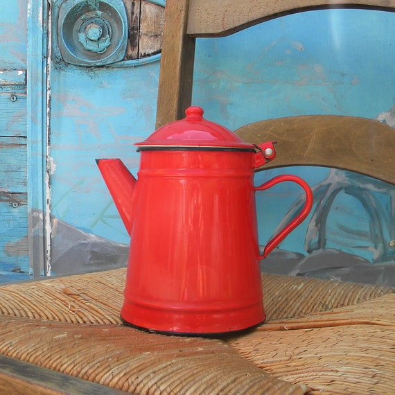 RESERVED Vintage red enamel pitcher or coffee pot