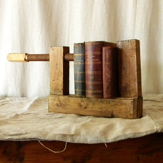 Recycled vintage bookcase wooden carpenter's vise