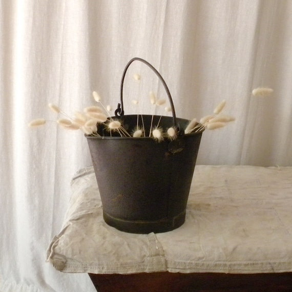 Rustic French country vintage metal pail