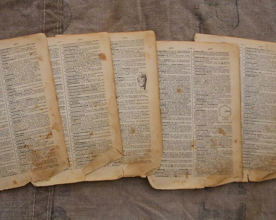 Vintage French encyclopedia pages, 1-cm stack