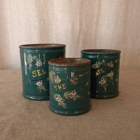 French antique ceramic canisters