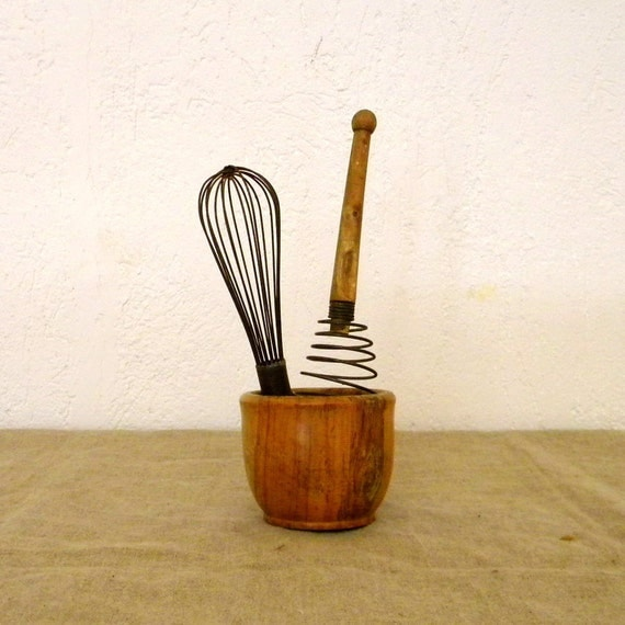 SALE Vintage French whisks, set of two