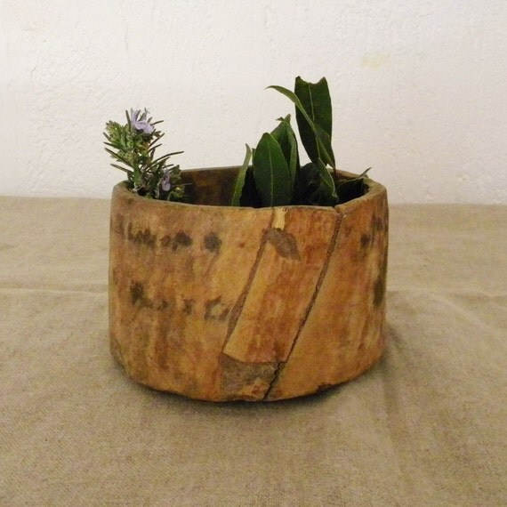 Vintage wood bowl, French country decor