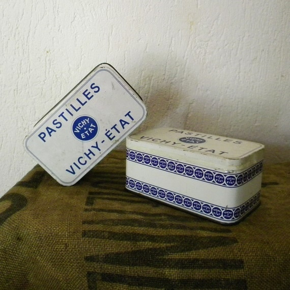 RESERVED Vintage French tin boxes, set of 2