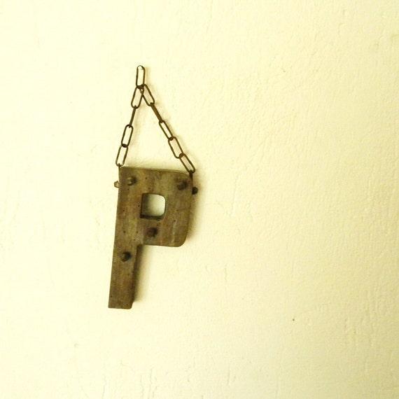 SALE Vintage French keyholder, letter P