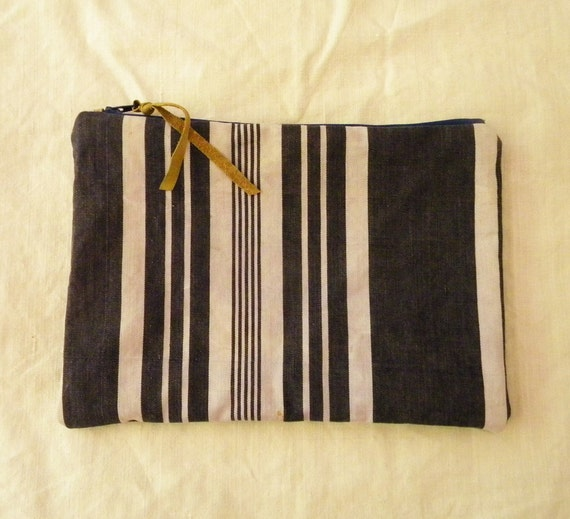 French zippered pouch or clutch recycled from vintage ticking fabric in blue and white stripes