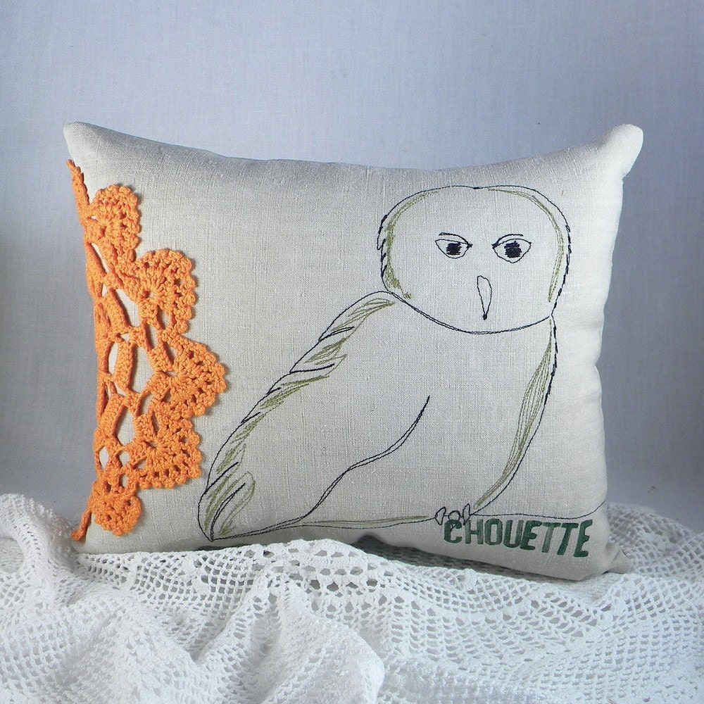 Owl Throw Pillow Etsy : Owl. embroidered decorative pillow by lapomme on Etsy