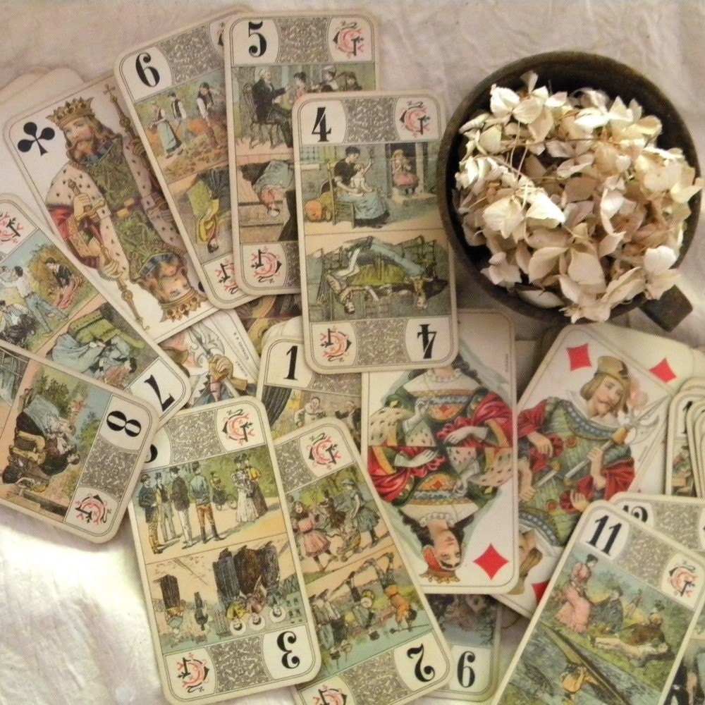 Antique French Tarot Cards By Lapomme On Etsy