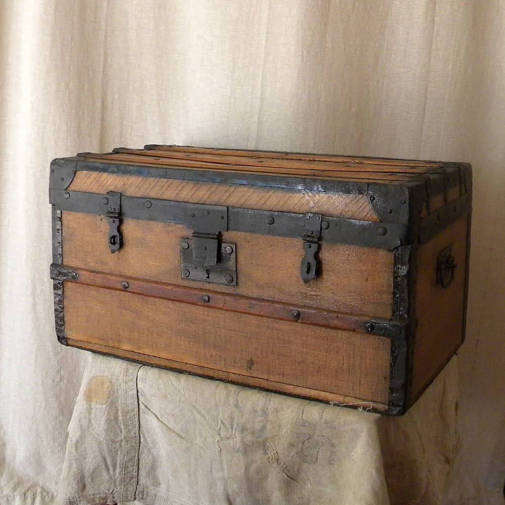 Vintage Wooden Chest French Country Decor