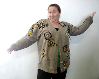 Shabby chic  creative  cardigan X Large  crazy cardigan granny square patchwork plus size upcycled XXL refashioned cloghing altered cardigan