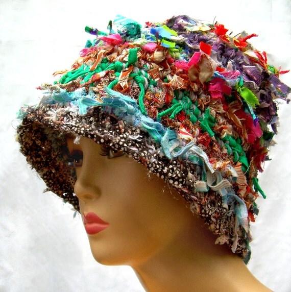 Unique crochet hat.. rag hat... unusual hat.. shabby chic hat... fun hat...bucket hat...cloche hat...crazy hat..cool hat...shabby chic hat