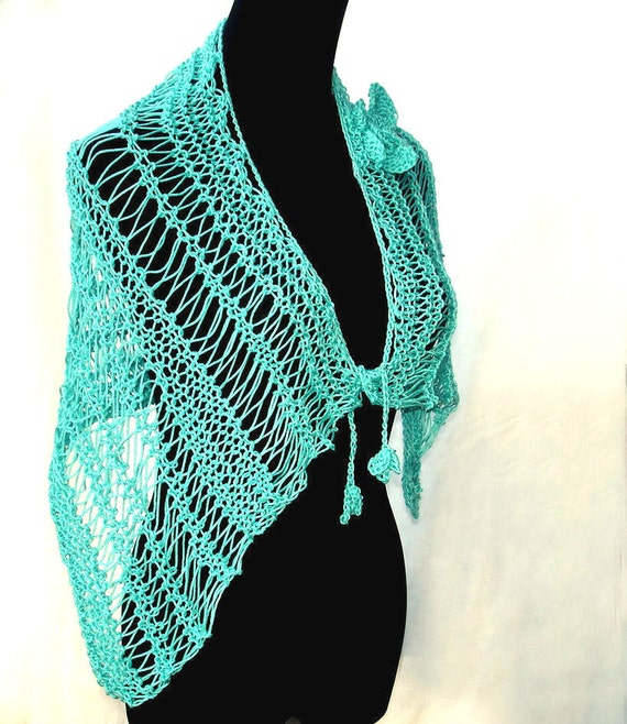 Hand knitted stole shrug capelet cowl cotton poncho green turquoise