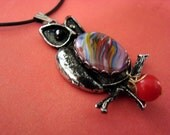 Hoot Owl Pendant LArge Cabochon Necklace