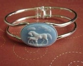 Baby Blue Horse and baby Cameo Cuff Bracelet