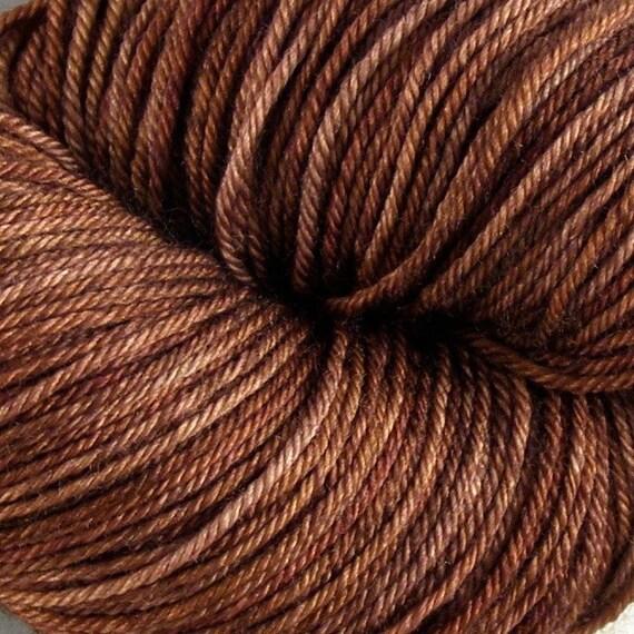 Queen of Hearts Sale - Superwash Merino Wool Silk Hand Dyed Knitting Yarn - Fingering Weight, Variegated - Chestnut