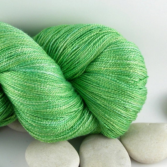 Queen of Hearts - Silk Hand Dyed Knitting Yarn - Lace Weight, Almost Solid, 980yds - Apple